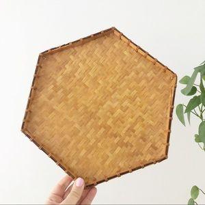 Flat Wicker Woven Wall Basket Plate Boho Decor